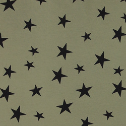 Stretch jersey army green with stars