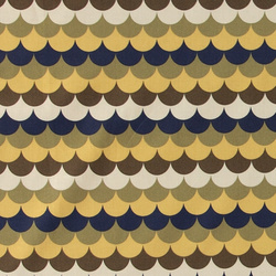 Cotton blue/brown/golden wave pattern