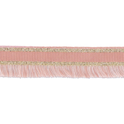 Ribbon woven w/fringe 30mm rose/lurex 2m