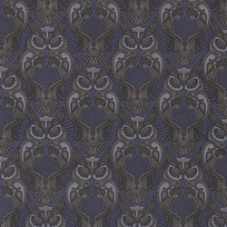 Woven cotton dusty dark blue w owls