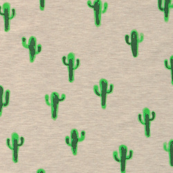 Stretch jersey nature melange w cactus