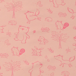 Stretch jersey soft rose w baby animals