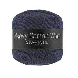 Garn heavy cotton wool mørk marine mel.