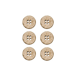 Button coconut 15mm 4 holes 6 pcs