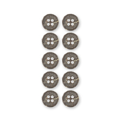 Button 4-holes 12mm brown/structure 10pc