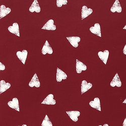 Non-woven oil cloth red w white hearts