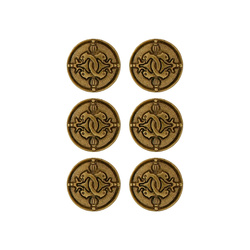 Shank button 22mm oxidised gold 6 pcs
