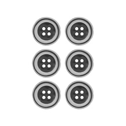 Button 4 holes 23mm silver 6 pcs