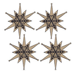 Deco star 55x60mm nature/black 4pcs