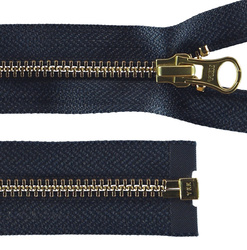 YKK zip 6mm open end blue/gold