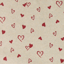 Woven oilcloth linenlook w red hearts