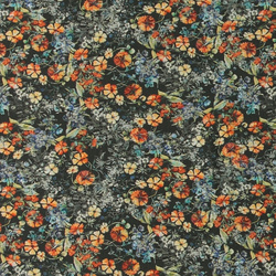 Woven viscose green w orange flowers