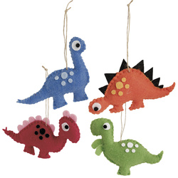 Kit felt dinosaurs ass. size 4 pcs